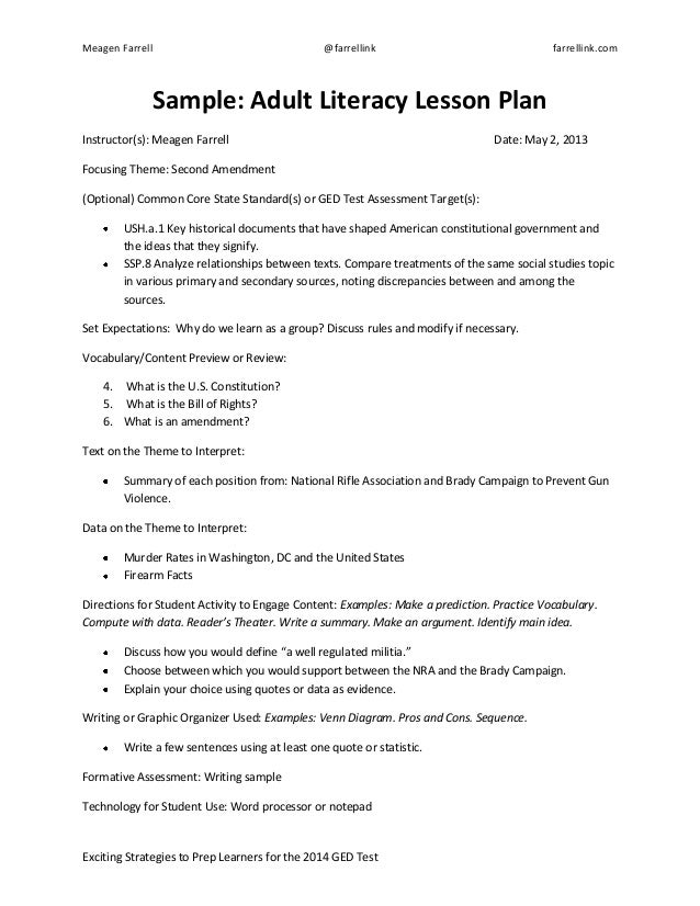 Adult Literacy Lesson Plan Sample Template - Lesson plan outline template