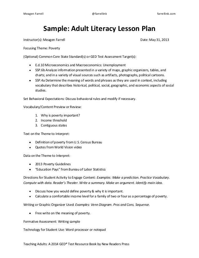 GED Test Lesson Plan Template Sample Education Pays - How to create a lesson plan template