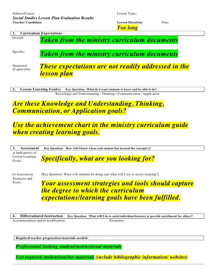 Subject/Course:                                                            Lesson Topic: Social Studies Lesson Plan Evalua...