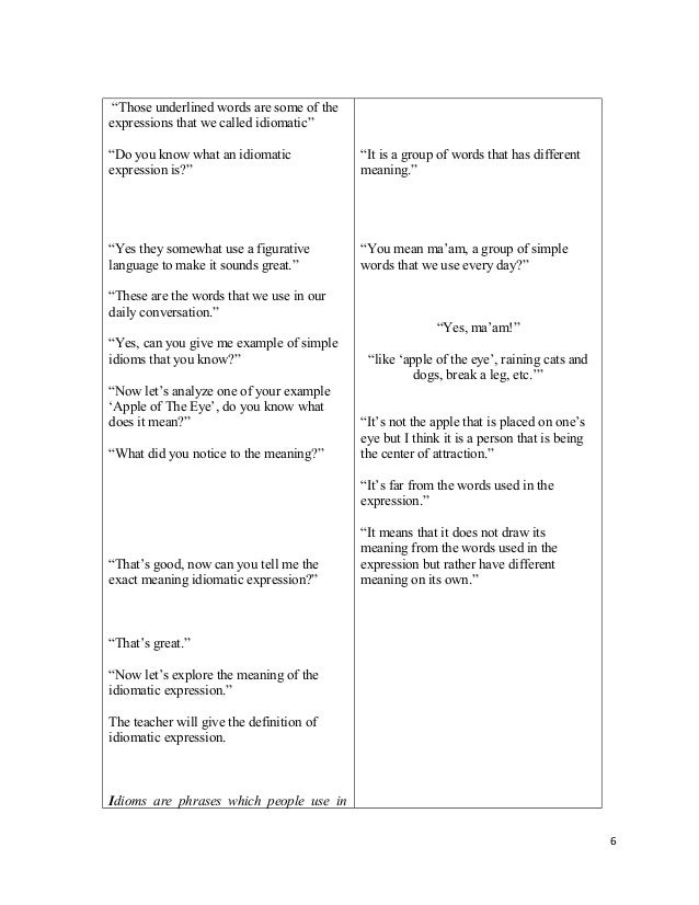 Lesson Plan Idiomatic Expression By Rosalie Capillo