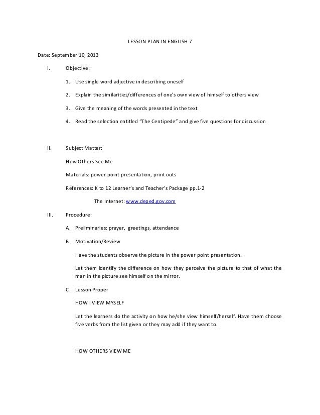 semi detailed lesson plan in english 2 A semi-detailed lesson plan in grade 9 english: infinitives i objective at the end of the lesson, the students should be able to: 1.