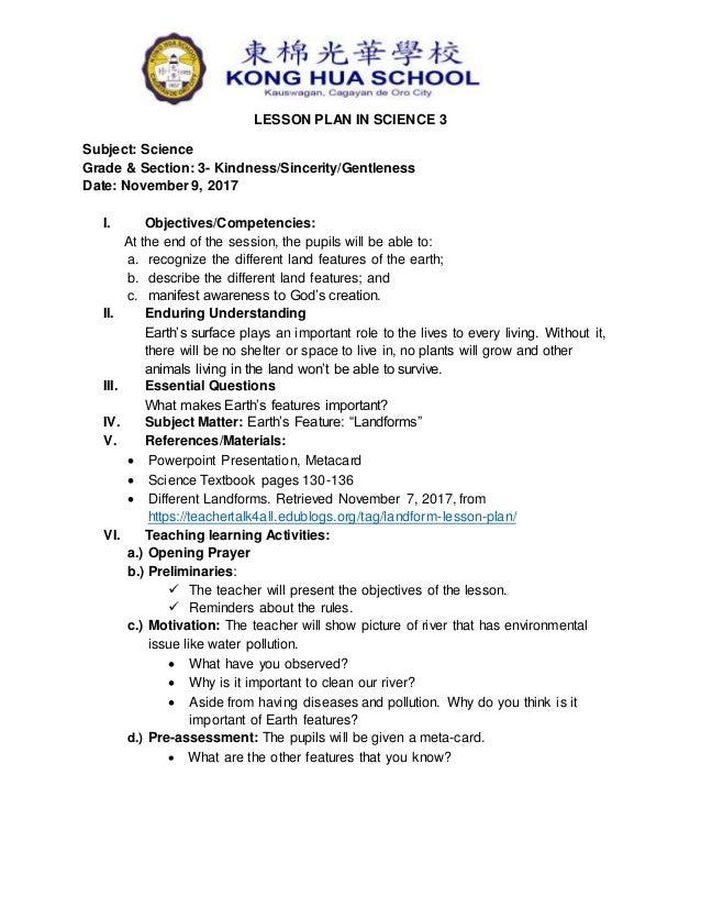 Grade 3 Lesson Plan Landforms