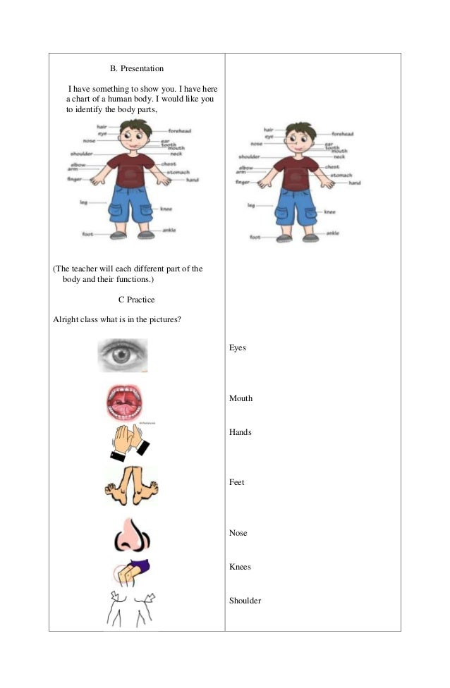B. Presentation I have something to show you. I have here a chart of a human body. I would like you to identify the body p...