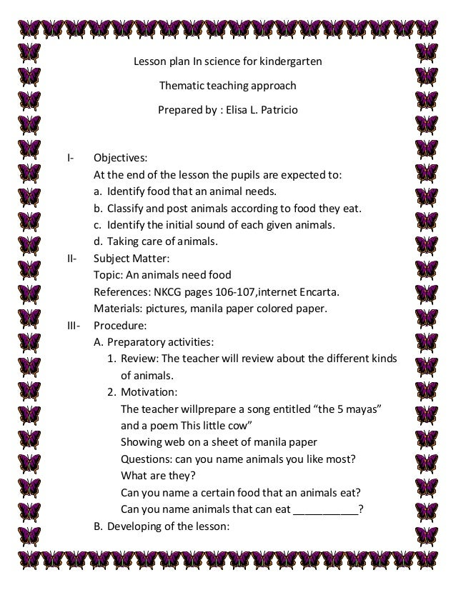 Lesson plan in science for kindergarten patricio