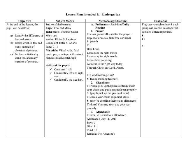 Sample Kindergarten Lesson Plan For Math - sample math lesson plan ...