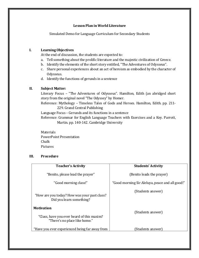 A detailed lesson plan in world literature for World language lesson plan template