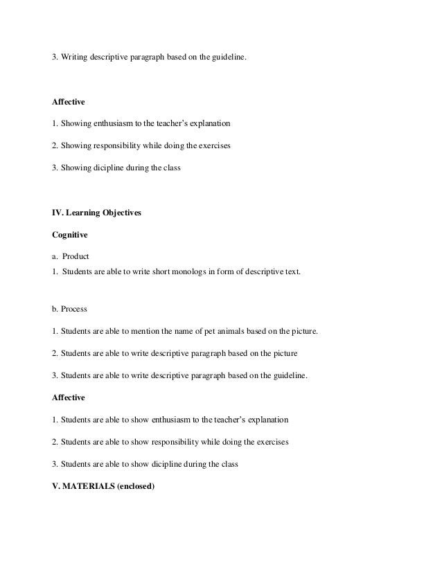 Lesson Plan For Writing Skill Descriptive