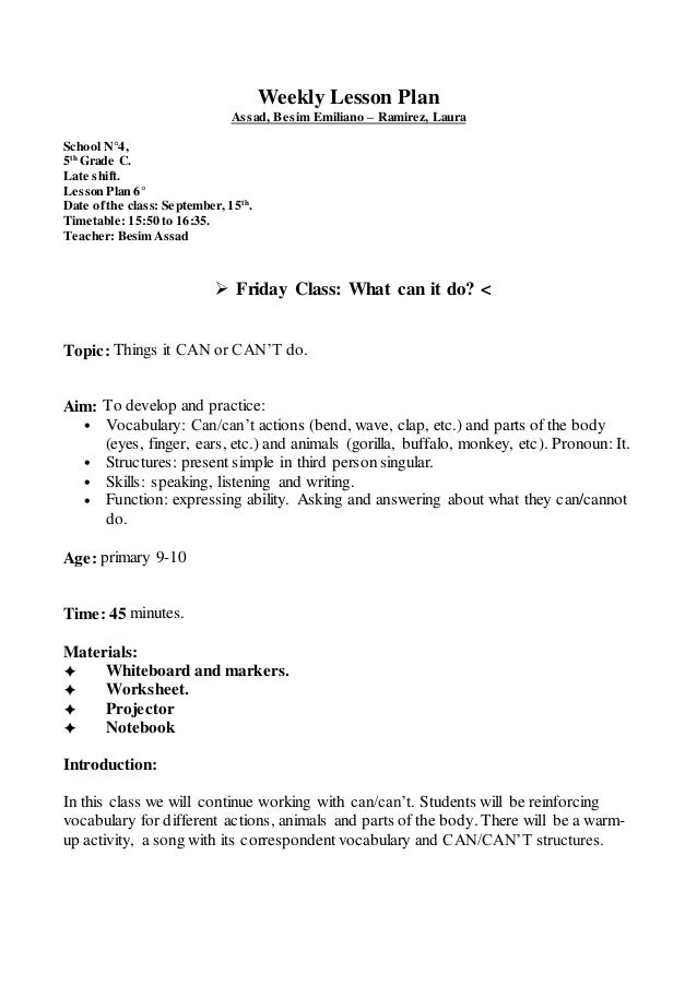 English In Italian: Lesson Plan N°6