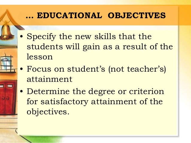 instructional objectives examples for elementary