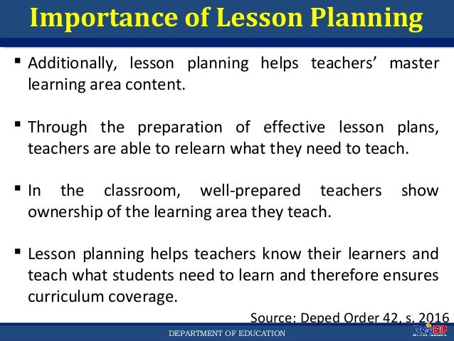 Lesson Planning For Deped Teachers