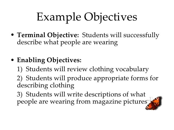 Example Objectives ...  Example Of Objective