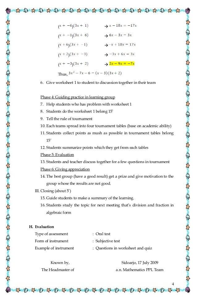 Lesson plan of algebraic factorization