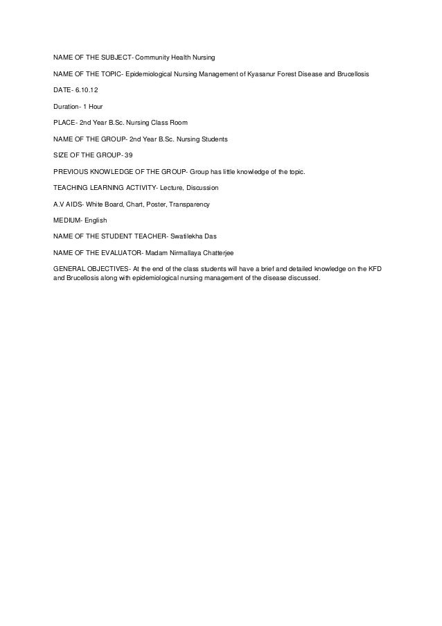 Lesson Plan Of Community Seminar Example Of Lesson Plan