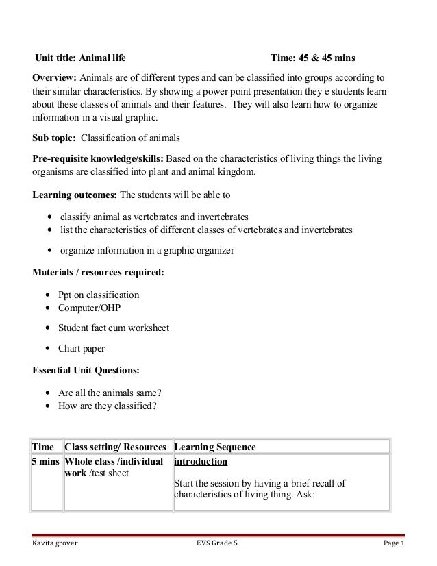 Lesson plan on classification of animals