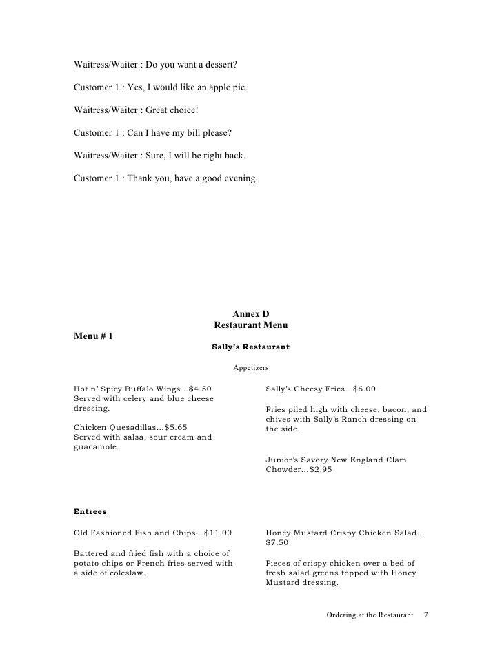 Restaurant Design Lesson Plan : Lesson plan ordering at the restaurant
