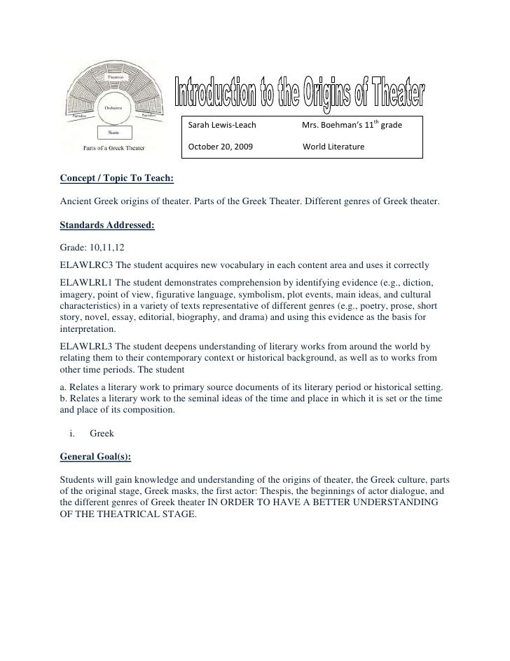 Printable Worksheets drama vocabulary worksheets : Lesson plan origins of greek theater