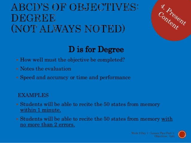 Lesson plan part 1 objectives and ISD