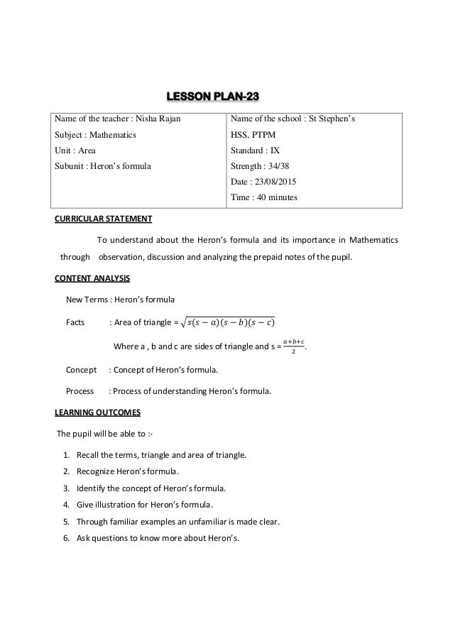 Lesson Plan Pdf - Tennessee lesson plan template