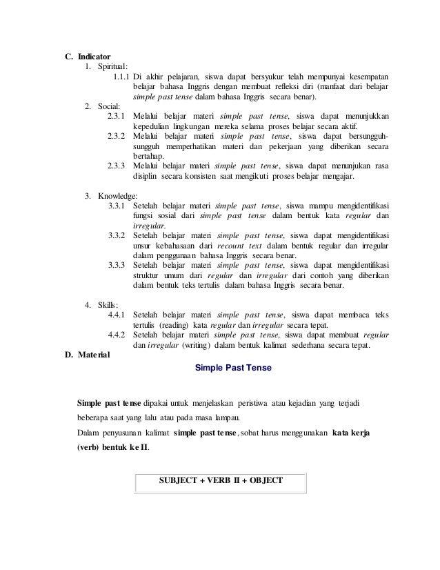Lesson plan recount text - simple past tense (regular & irregular) kelas 8 kurikulum 2013 Slide 2