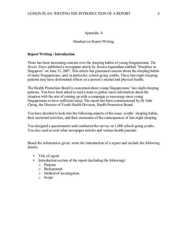 write a report plan