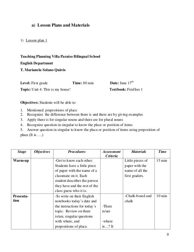 0 a) Lesson Plans and Materials 1) Lesson plan 1 Teaching Planning Villa Paraíso Bilingual School English Department T. Ma...