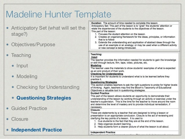 LESSON PLAN TEMPLATES; 22. Madeline Hunter Template Anticipatory ...