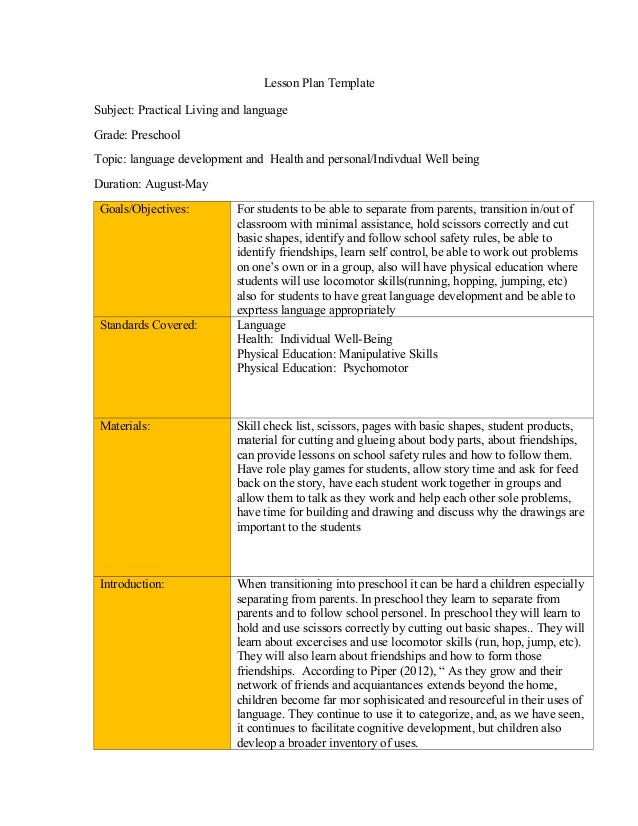 Lesson Plan Template - Health lesson plan template
