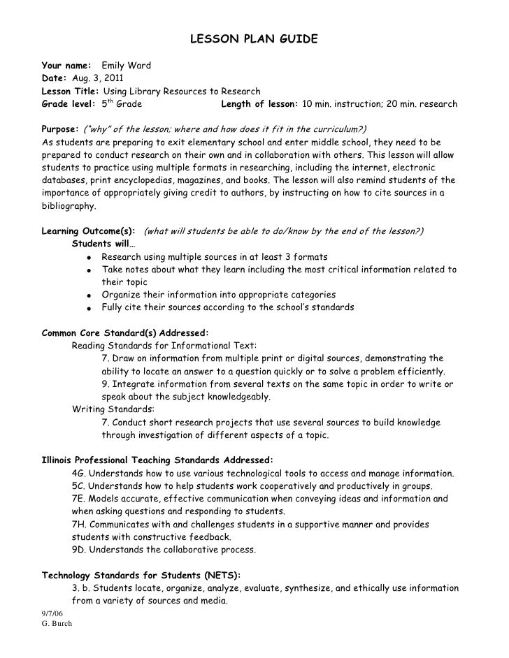 Sample Letter 5th Grade.  Research Project Lesson Plan