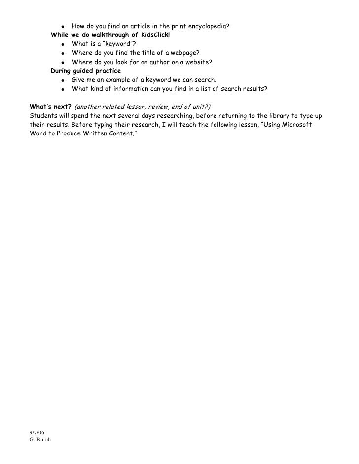 author research paper lesson plan Develop a research proposal writing the before you have someone else read your paper additional resources and lesson plans are available on the research.