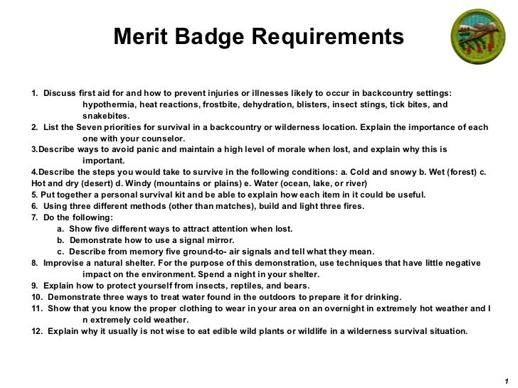 Merit Badge Requirements <ul><li>1.  Discuss first aid for and how to prevent injuries or illnesses likely to occur in bac...