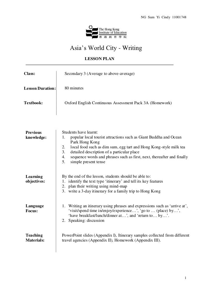 NG Sum Yi Cindy 11001748                       Asia's World City - Writing                                 LESSON PLANClas...