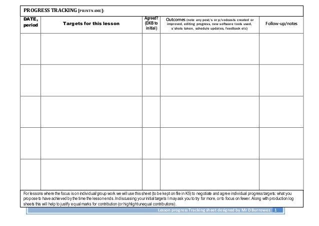 Lesson progress tracking sheet