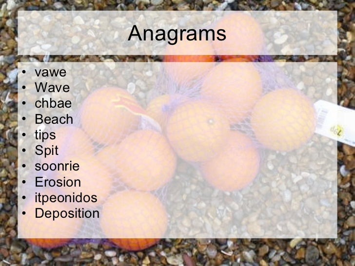 Anagrams <ul><li>vawe </li></ul><ul><li>Wave </li></ul><ul><li>chbae </li></ul><ul><li>Beach </li></ul><ul><li>tips </li><...