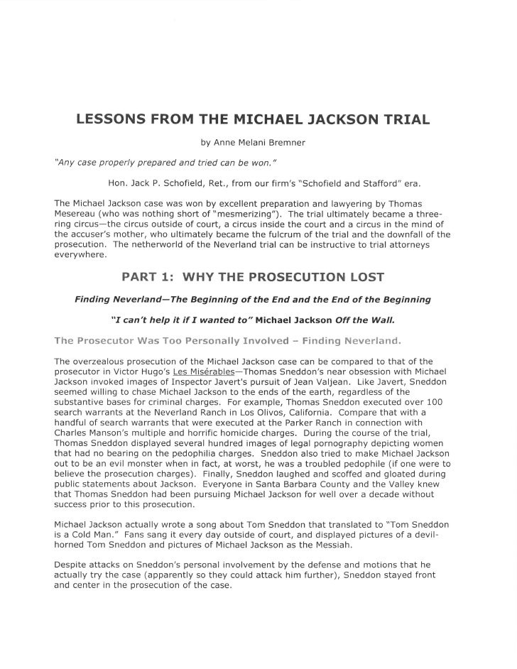 """LESSONS FROM THE MICHAEL JACKSON TRIAL                                    by Anne Melani Bremner  """"Any case properly prepa..."""