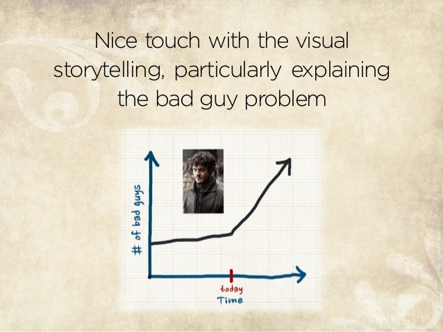 Nice touch with the visual storytelling, particularly explaining the bad guy problem