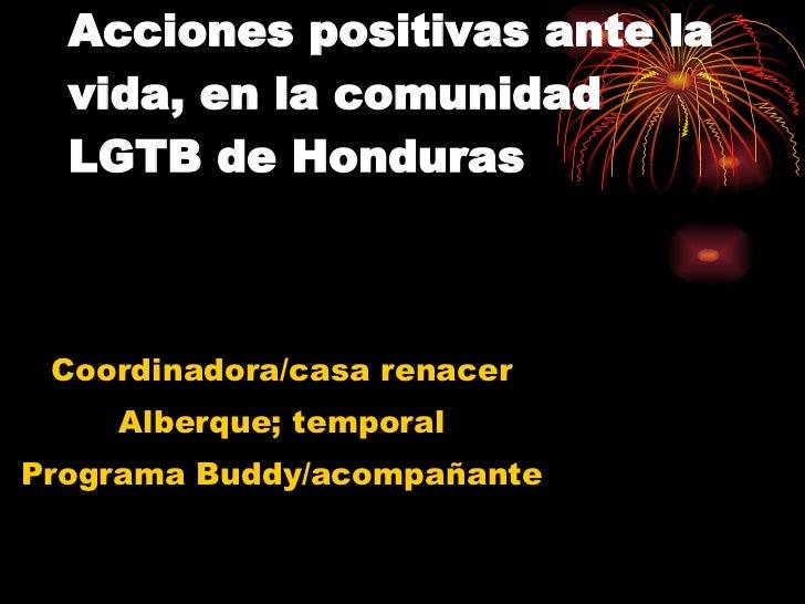 Acciones positivas ante la vida, en la comunidad LGTB de Honduras Coordinadora/casa renacer Alberque; temporal Programa Bu...