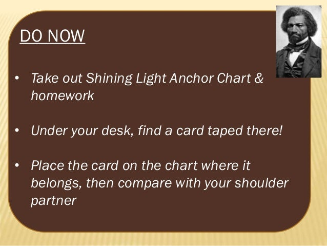 DO NOW • Take out Shining Light Anchor Chart & homework • Under your desk, find a card taped there! • Place the card on th...