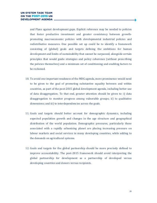 20and Plans against development gaps. Explicit reference may be needed to policiesthat foster productive investment and gr...