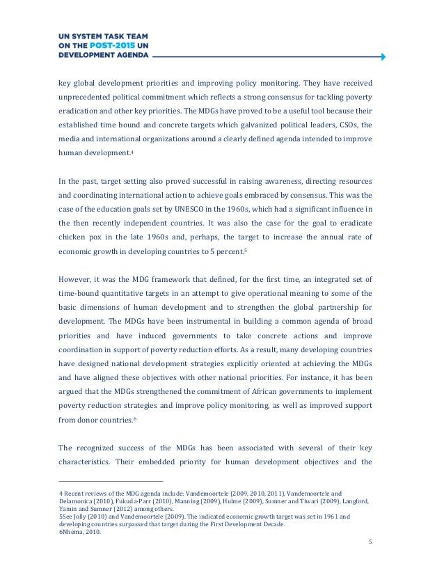 5key global development priorities and improving policy monitoring. They have receivedunprecedented political commitment w...