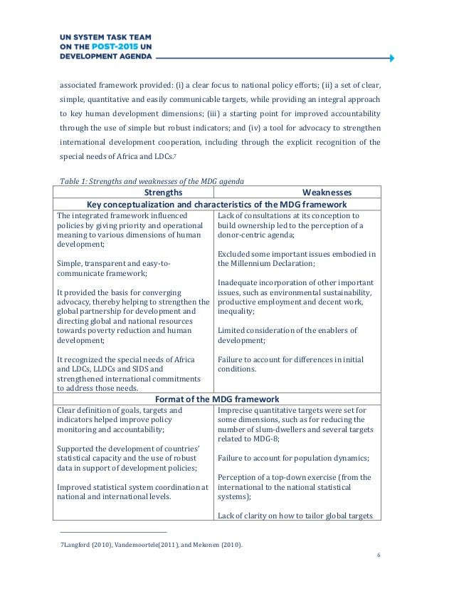 6associated framework provided: (i) a clear focus to national policy efforts; (ii) a set of clear,simple, quantitative and...