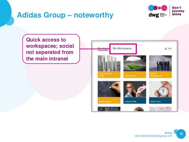 @dwg www.digitalworkplacegroup.com Adidas Group – noteworthy 12 Quick access to workspaces; social not separated from the ...