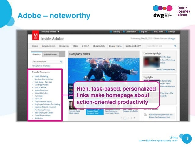 @dwg www.digitalworkplacegroup.com Adobe – noteworthy 18 Rich, task-based, personalized links make homepage about action-o...