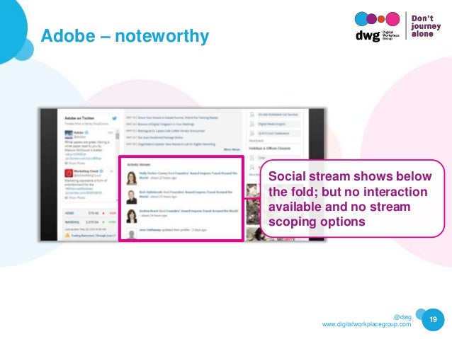 @dwg www.digitalworkplacegroup.com Adobe – noteworthy 19 Social stream shows below the fold; but no interaction available ...