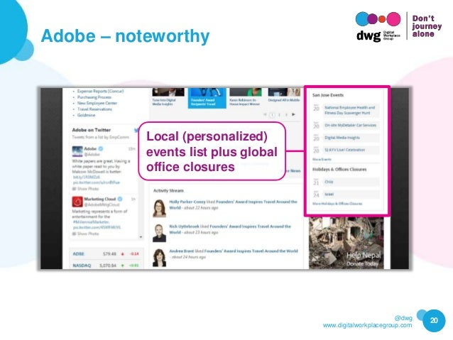 @dwg www.digitalworkplacegroup.com Adobe – noteworthy 20 Local (personalized) events list plus global office closures