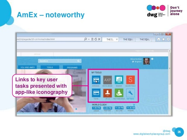 @dwg www.digitalworkplacegroup.com AmEx – noteworthy 26 Links to key user tasks presented with app-like iconography