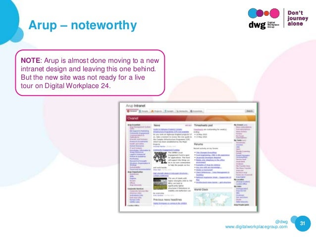@dwg www.digitalworkplacegroup.com Arup – noteworthy 31 NOTE: Arup is almost done moving to a new intranet design and leav...