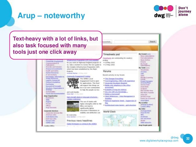 @dwg www.digitalworkplacegroup.com Arup – noteworthy 32 Text-heavy with a lot of links, but also task focused with many to...