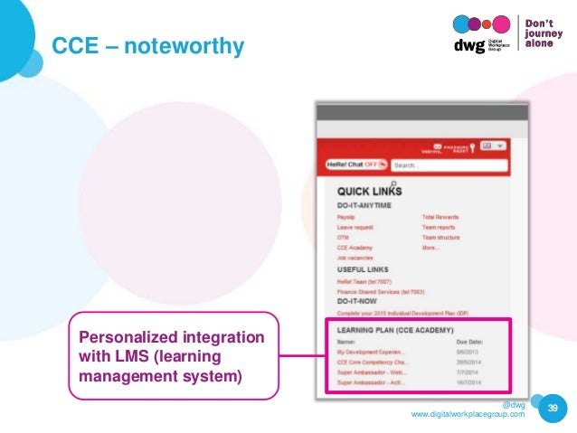 @dwg www.digitalworkplacegroup.com CCE – noteworthy 39 Personalized integration with LMS (learning management system)