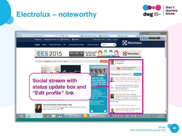 """@dwg www.digitalworkplacegroup.com Electrolux – noteworthy 44 Social stream with status update box and """"Edit profile"""" link"""