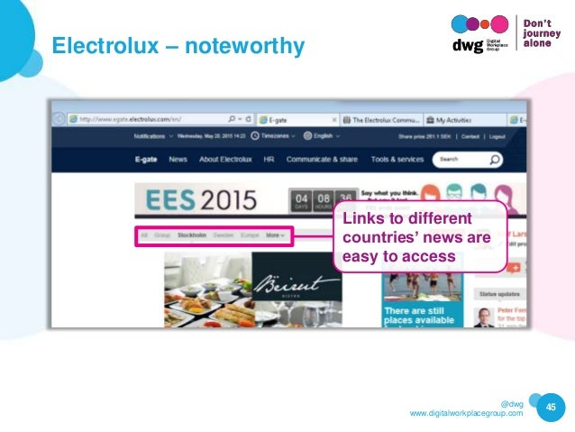 @dwg www.digitalworkplacegroup.com Electrolux – noteworthy 45 Links to different countries' news are easy to access
